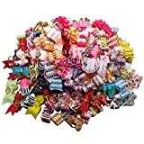60PC/Lot Mixed Package!Ribbon Dog Hair Bows Handmade Pet Hair Accessories For Dogs Grooming Bows