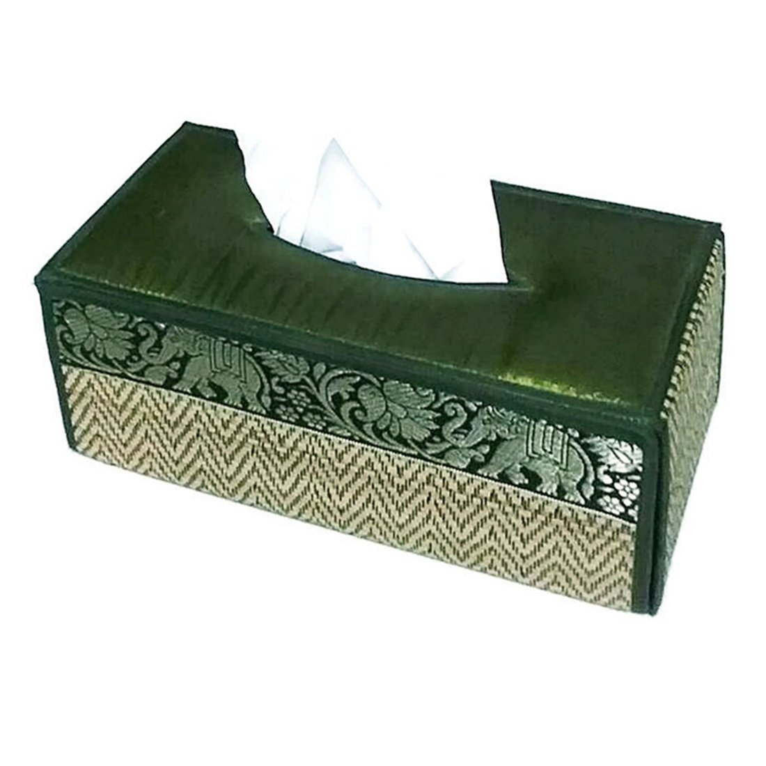 chantubtimplaza Tissue Box Cover Thai Handicraft Elephant Silk Reed Green Color Handmade Home Decor by chantubtimplaza