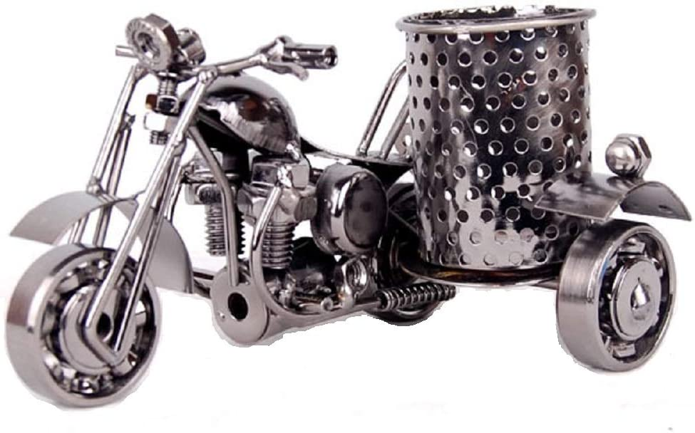 Creative Metal Pencil & Pen Holder Display - Motorcycle Theme Desktop Supply Organizer