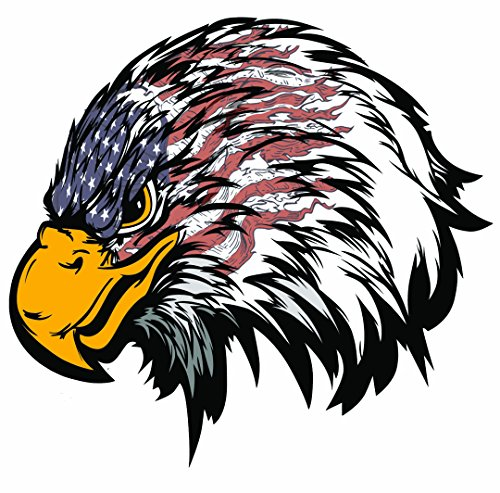 Weathered American Flag Eagle Head Large 10 in. Decal in the United States