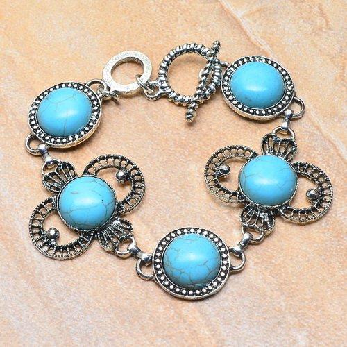 turquoise gemstone round cabochon adjustable link bracelet