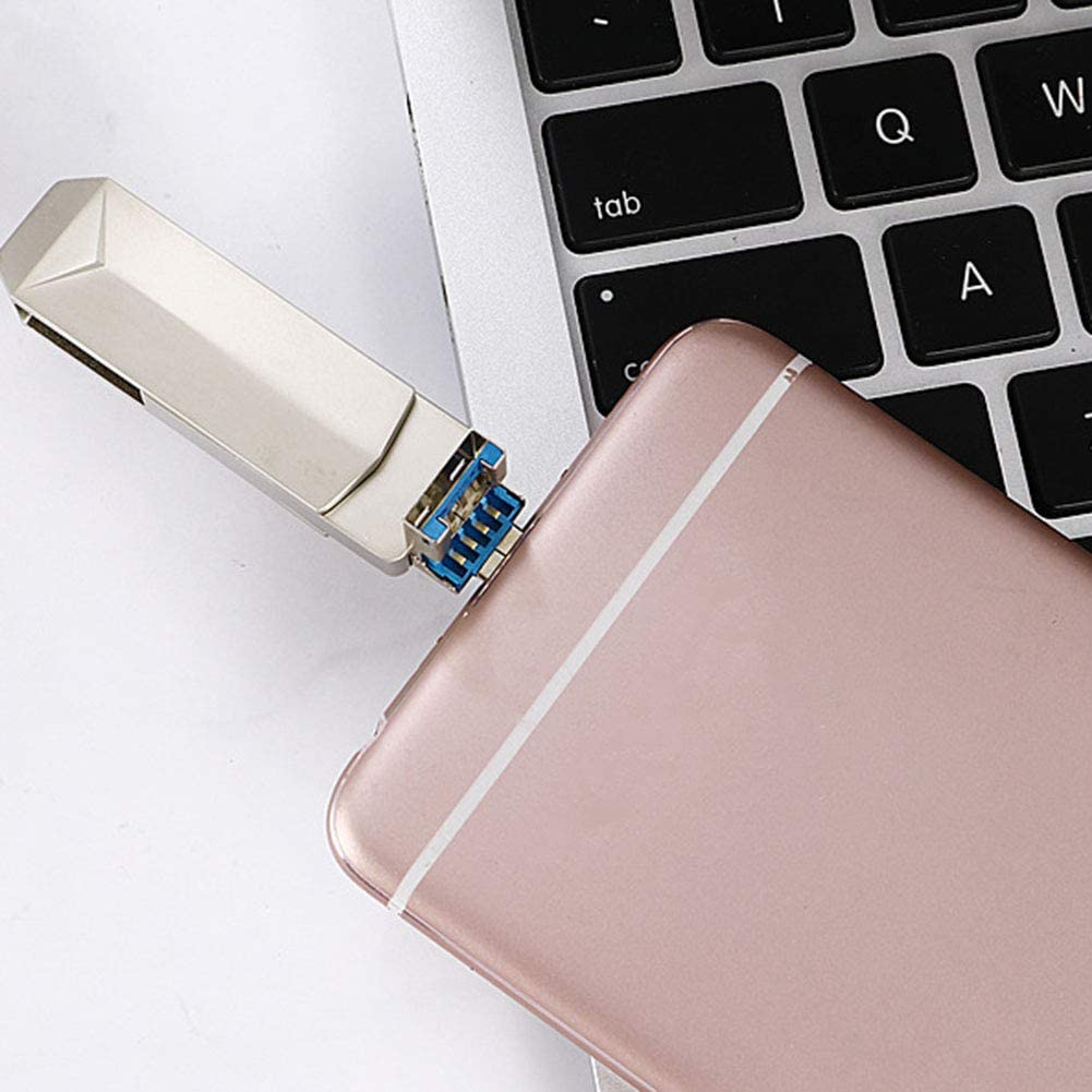 Lay USB Flash Drive Three-in-One Thumb Drive Memory Stick 128G 360-Degree Rotating Jump Drive Flash Drive 3.0 Compatible iOS//MacBook//Android and Computer