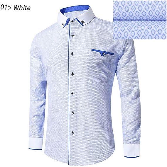 YYZHAO Camisa de Vestir Blanca de Manga Larga para Hombre ...