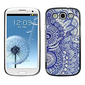 Paccase / SLIM PC / Aliminium Casa Carcasa Funda Case Cover para - Wallpaper Blue Floral Pattern Art Native Royal - Samsung Galaxy S3 I9300