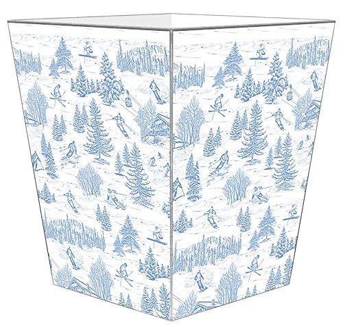 WB1593-Ski Toile Blue Wastepaper Basket