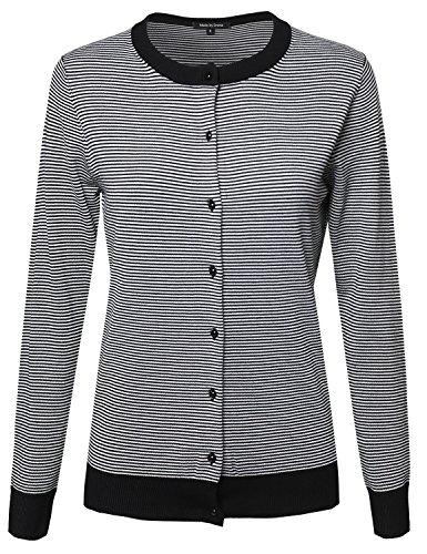 Thin Stripe Button Down Viscose Long Sleeves Cardigan Black White M