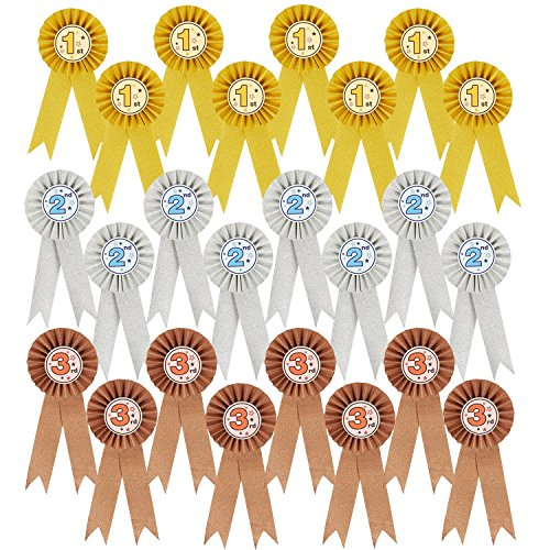 (24-Pack Award Ribbons - Participation Decorations, Rosette Ribbons, 1st, 2nd, and 3rd Place Recognition Awards for Spelling Bees, Science Fairs, Talent Shows, Gold, Silver, Bronze)