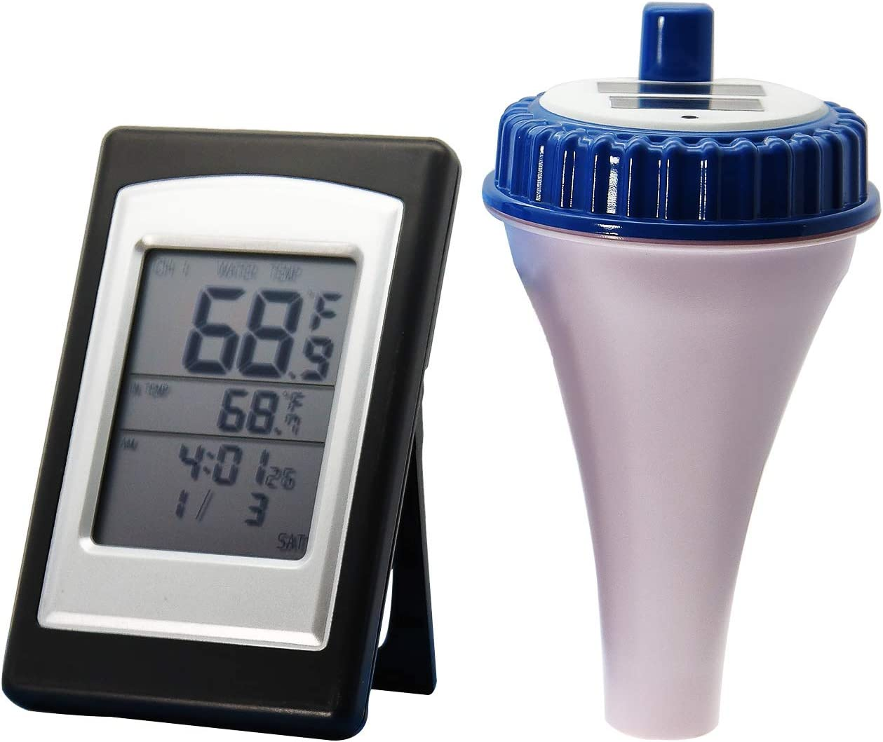 AMTAST Wireless Swimming Pool Thermometer Water Temperature Floating Pool Thermometer with Solar Energy for Swimming Pools Spas Hot Tubs Ponds Aquarium Fish Ponds