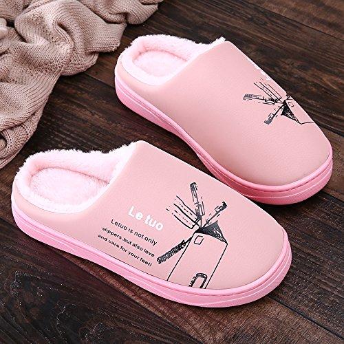 Y-Hui invierno zapatillas de algodón, amantes femeninos que viven en la casa, cubierta de piso impermeable, fondo blando Anti-Skid zapatillas hombres Pink
