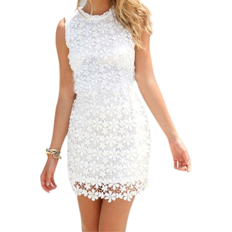 West See Damen Sommerkleid Ärmellos Cocktaikleid Partykleid Weiß ...