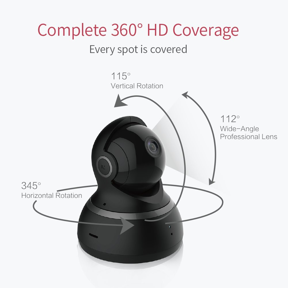 YI Dome Camera 1080p HD Pan/Tilt / Zoom Wireless IP Security Surveillance  System with Auto-Cruise, Motion Tracker, Activity Alert, Night Vision, iOS,