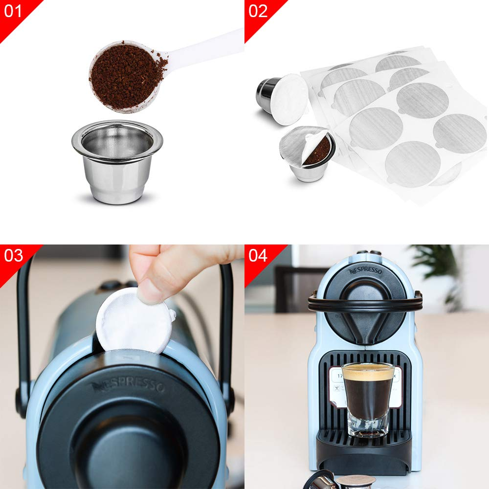 OurLeeme 2PCS C/ápsula de caf/é recargable Juego Completo taza de filtro de caf/é reutilizable de acero inoxidable con 100 pinceles de pel/ícula para la m/áquina Nespresso