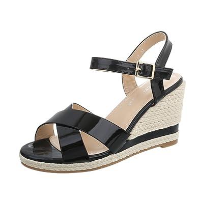 Damenschuhe Plateau Sandalen mit Keilabsatz/Wedge Keilabsatz Schnalle Sandalen/Sandaletten (40 EU, Schwarz)