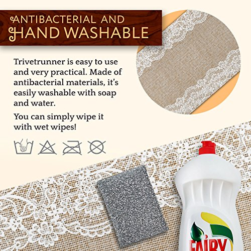 Large Product Image of TRIVETRUNNER Decorative Trivet and Kitchen Table Runners Handles Heat Up to 300F, Anti Slip, Hand Washable, and Convenient for Hot Dishes and Pots,Hand Washable (Jute and Lace)