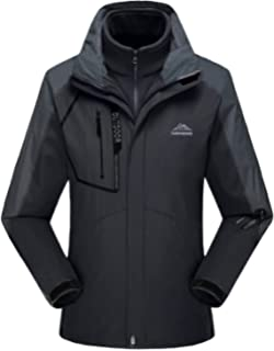 Rdruko Womens Outdoor 3-in-1 Waterproof Ski Jacket Fleece Inner Winter Coat with