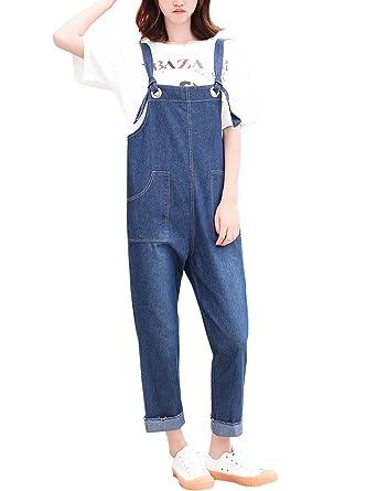 c2fe8b487625 Jenkoon Denim Cropped Harem Pant Loose Jeans Jumpsuits Bib Overalls (Dark  Blue
