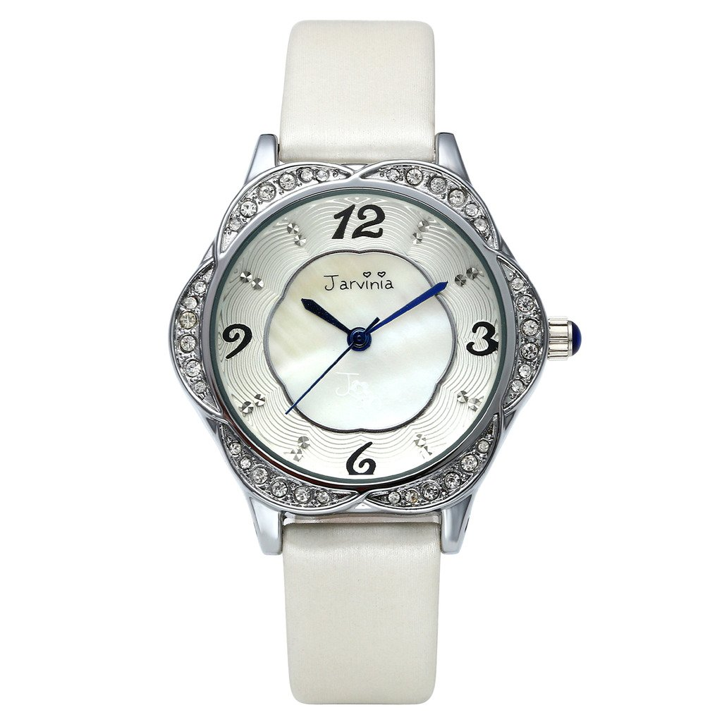 JSDDE Uhren,Elegant Frau Armbanduhr Strass Blume-Form Damenuhr mit Muschel Echtleder Armband Analog Qaurzuhr,Weiss