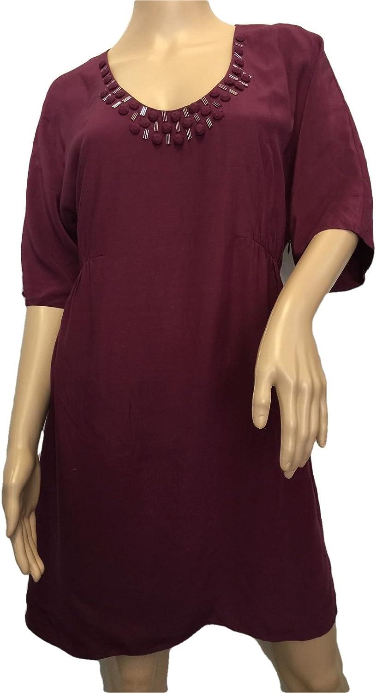 Boden Viscose Burgundy Embellished Decadent Dress Size US 14