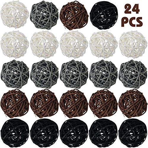 DomeStar Rattan Ball, 24PCS Orbs Vase Fillers (Large Balls Wicker)