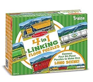 Melissa & Doug Trains 4-in-1 Jumbo Linking Jigsaw Floor Puzzle (96 pcs, 5 feet long)