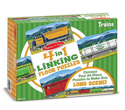 (Melissa & Doug Trains 4-in-1 Jumbo Linking Jigsaw Floor Puzzle (96 pcs, 5 feet long))