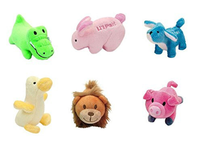 Bundle of 6 L'il Animals: Li'l Pals Plush Small Dog / Pet Toys w/ Squeaker by Coastal Pet