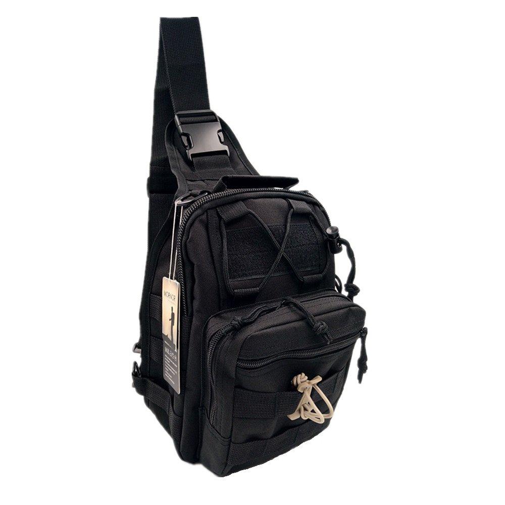 mornor Tactical Shoulderバックパック、600dオックスフォード生地Chest Packミリタリースポーツバッグパックデイパックのキャンプ、ハイキング、トレッキング用、ローバースリング  ブラック B075ZRW7DL