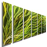 "Statements2000 Abstract Large Etched 3D Metal Wall Art Hanging Sculpture Panels by Jon Allen, Green/Gold, 68"" x 24"" - Rays of Hope 7 Piece"