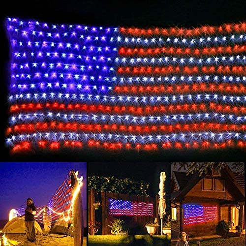 Auelife American Flag Lights, Waterproof 420 Led Light 24V 6.5ft3.28ft Flag Net Lights Indoor Outdoor for Independence Day Memorial Day Fence Yard Garden Festival Christmas Room Wall Decorations -