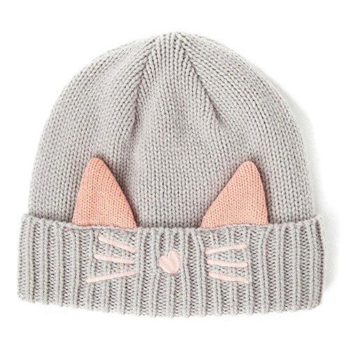 Zgllywr Women's Hat Cat Ear Crochet Braided Knit Caps (E-Grey) (Crochet Cat Hat)