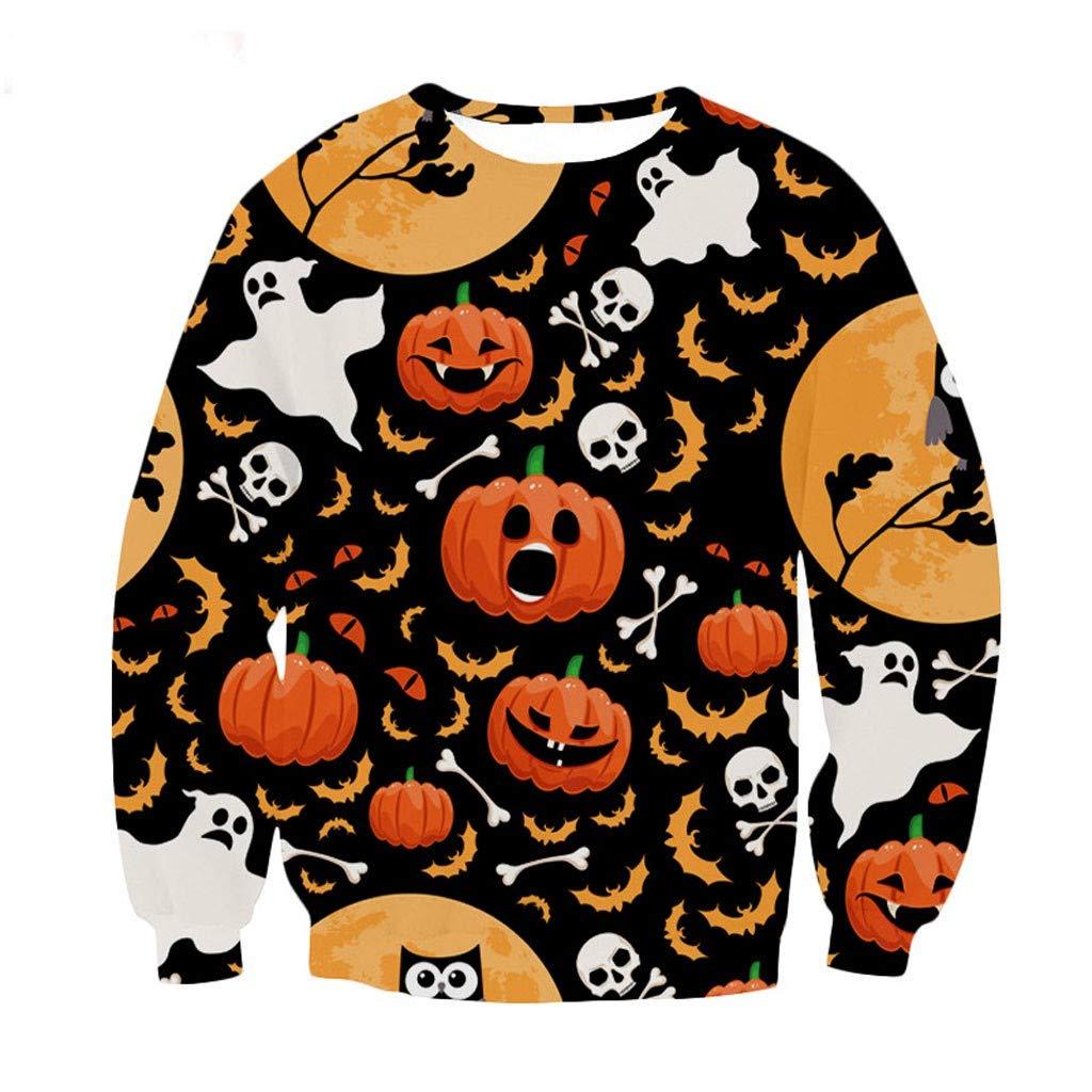 Gleamfut Men's Halloween Printed Pullovers Autumn Warm Long Sleeve Tops Ghost Pumpkin Cartoon Printed Sweatshirt Black by Gleamfut