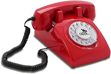 OPIS 60s Cable con Logo de Opis Technology: Teléfono Estilo Retro/teléfono Vintage de los años Sesenta con Disco de marcar (Rojo): Amazon.es: Electrónica