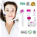 (2019 Upgraded) Derma Microneedling Professional titanium Roller Kit (6 Pc) for Face and Body, Micro-needle pen for Acne Scars, Skin Aging, Stretch Marks - Includes Storage Case, Disinfectant Cup