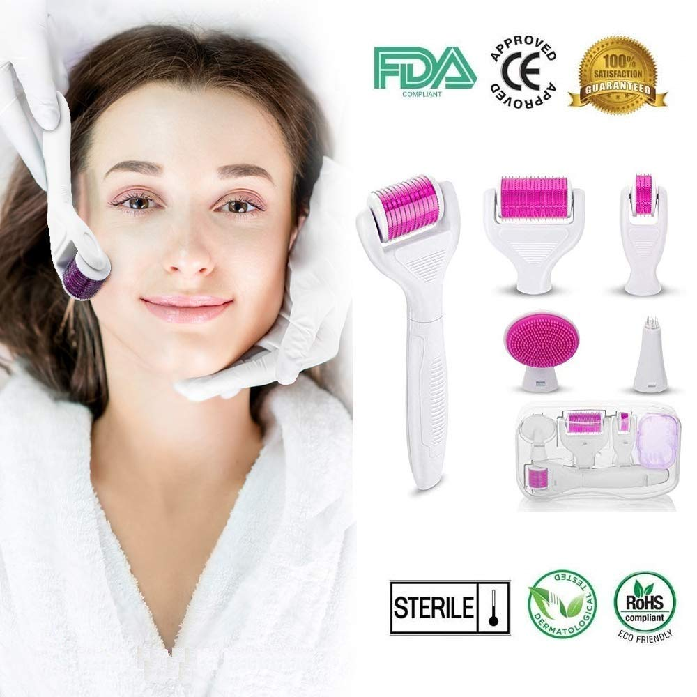 (2019 Upgraded) Derma Microneedling Professional titanium Roller Kit (6 Pc) for Face and Body, Micro-needle pen for Acne Scars, Skin Aging, Stretch Marks - Includes Storage Case, Disinfectant Cup Prish