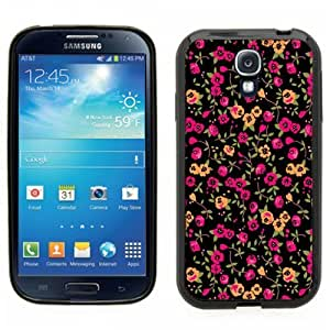 Samsung Galaxy S4 SIIII Black Rubber Silicone Case - Floral Pattern Print Flowers Trendy style