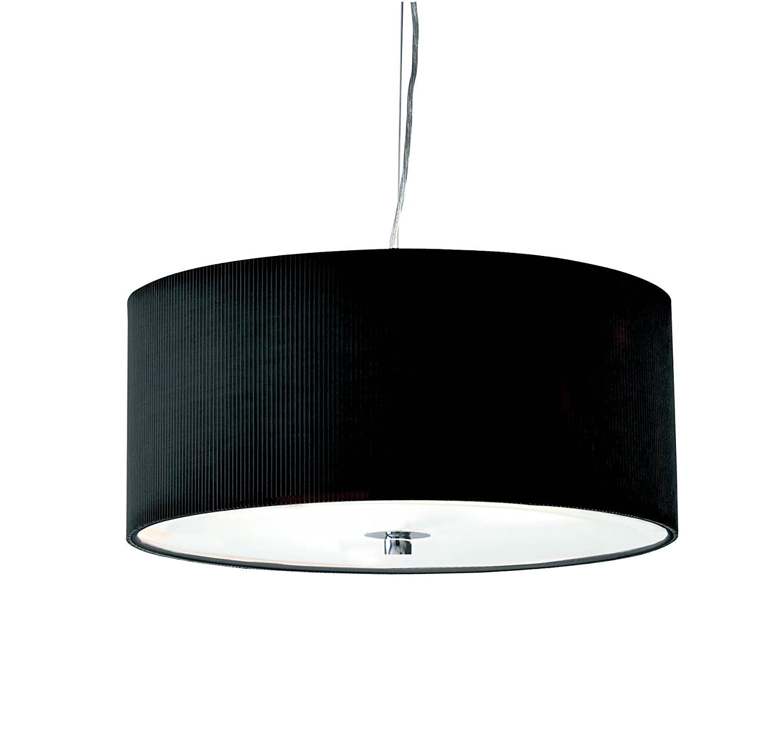 Dar Zaragoza 3-Light 40 cm techo con plisado color negro y ...