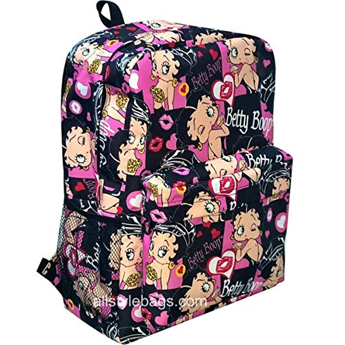 Betty Boop black canvas L Bag Backpack cartoon School Pink Heart Pockets