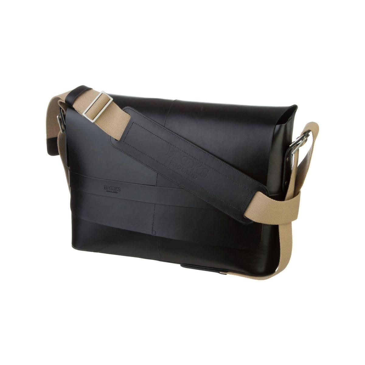 43d84f0386c Amazon.com : Brooks England Barbican Leather Black Messenger Bag- Handmade  European Hard Leather 15