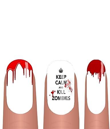 Amazon Keep Calm Kill Zombies Blood Drip Nail Art Transfer