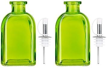 Aceite de oliva Outpost EVOO y vinagre dispensador 250 ml juego de botella de cristal con vertedor (verde fresco): Amazon.es: Hogar