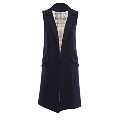 103b4c45c5183c Kateirmaso Sleeveless Blazer Vest Spring Autumn Long Vest Waistcoat Female  Women Outwear Longline Jacket Pocket Coat Black Purplish Blue L  Amazon.co. uk  ...