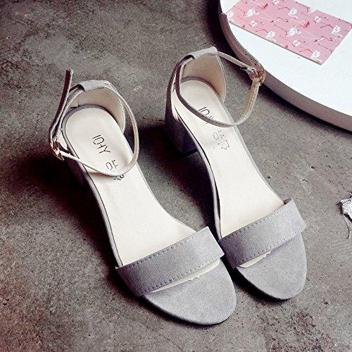 RUGAI UE Gray Las mujeres Verano Toe Heeled Zapatos Sandals hebilla High de sandalias RRr4qdw