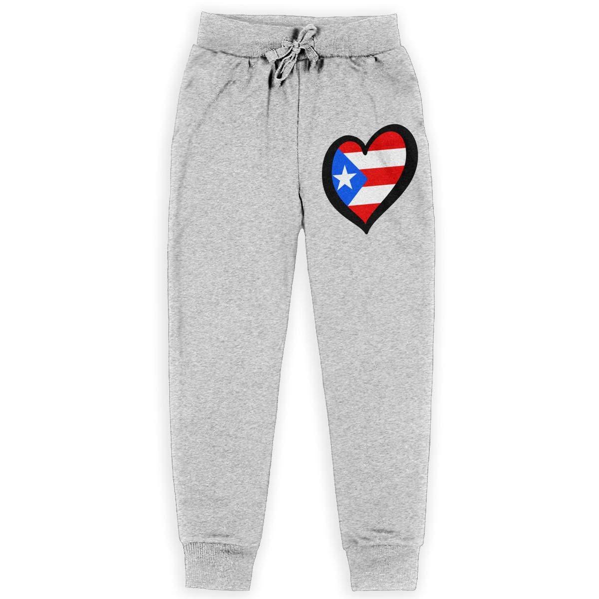 Boys Sweatpants Heart Shaped Puerto Rico Flag Active Pants