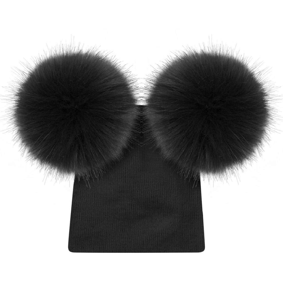 heekpek Lovely Baby Winter Hat Girls Boys Fur Pom Pom Hats Cute Knitted Hemming Cap Beanie Hat Unisex Warm Cap for Girl