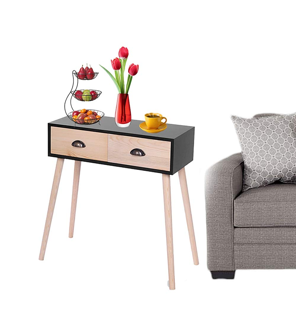 Prettyshop4246 Wooden Side Bed Sofa Table 2 Pullout Drawer Storage High-Grade MDF in Mid Century Style Livingroom Study Room Bedroom Home Office Hotel by Prettyshop4246 (Image #2)