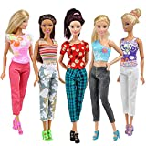 E-TING 10 Items=5 Clothes Tops 5 Trousers Pants Mixed Outfit Sets Fashion Style For Barbie Fashionista Dolls