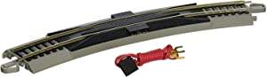 """Bachmann Trains - Snap-Fit E-Z TRACK 18"""" RADIUS CURVED TERMINAL RERAILER w/WIRE (1/card) - NICKEL SILVER Rail With Gray Roadbed - HO Scale"""