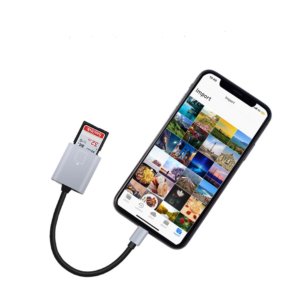 SD Card Reader for iPhone/iPad/iPad, MeloAudio Lightning to SD/TF Card Camera Reader,Trail Game Camera Viewer for iPhone X/8 Plus/8/7 Plus/7/6s Plus/6s/6 Plus/iPad Mini/Air, No App Required