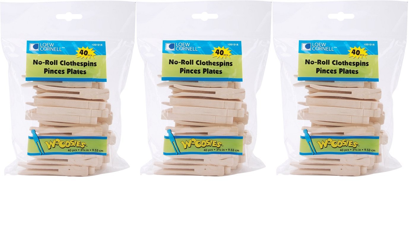 Loew-Cornell 1021218 Simply Art Wood Flat Clothespins 40 ct, 3 Pack