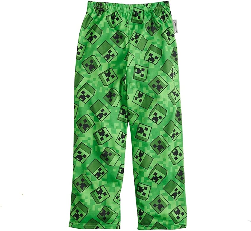NWT Minecraft Boys Sz 4-16 Creeper Green Pajama PJ Lounge Minecraft Sleep Pants